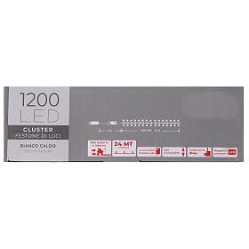 Chaîne 1200 LED blanc chaud avec jeu de lumières extérieur courant s7