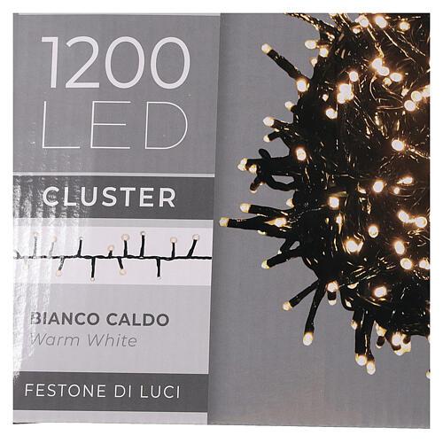 Grinalda de 1200 LED branco quente com jogos de luzes exterior corrente 6