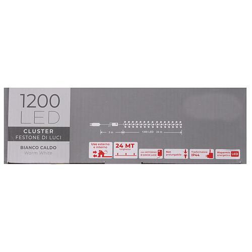 Grinalda de 1200 LED branco quente com jogos de luzes exterior corrente 7