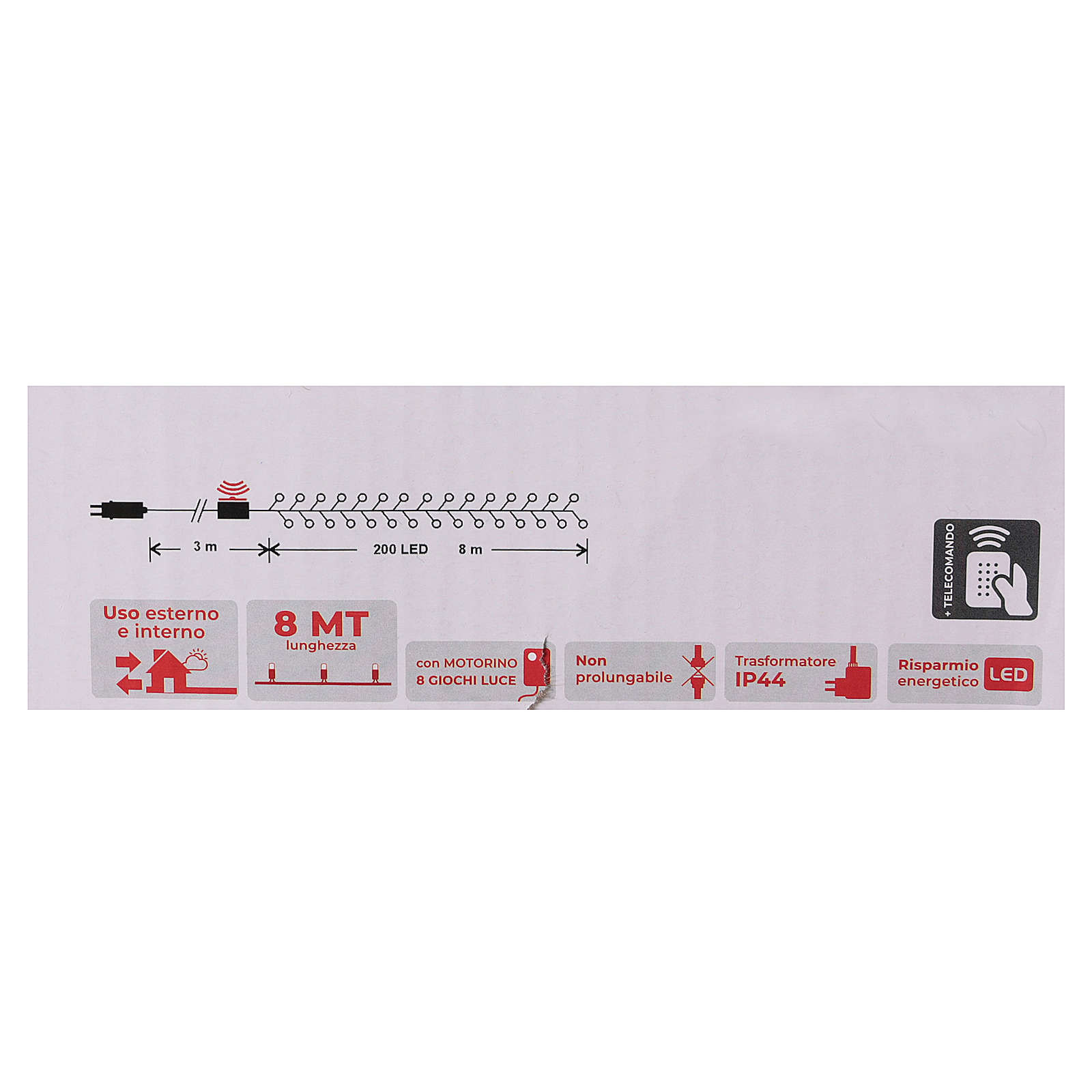 Cadena 200 led blanco frío control remoto exterior 220V 3
