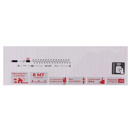 Cadena 200 led blanco frío control remoto exterior 220V 6
