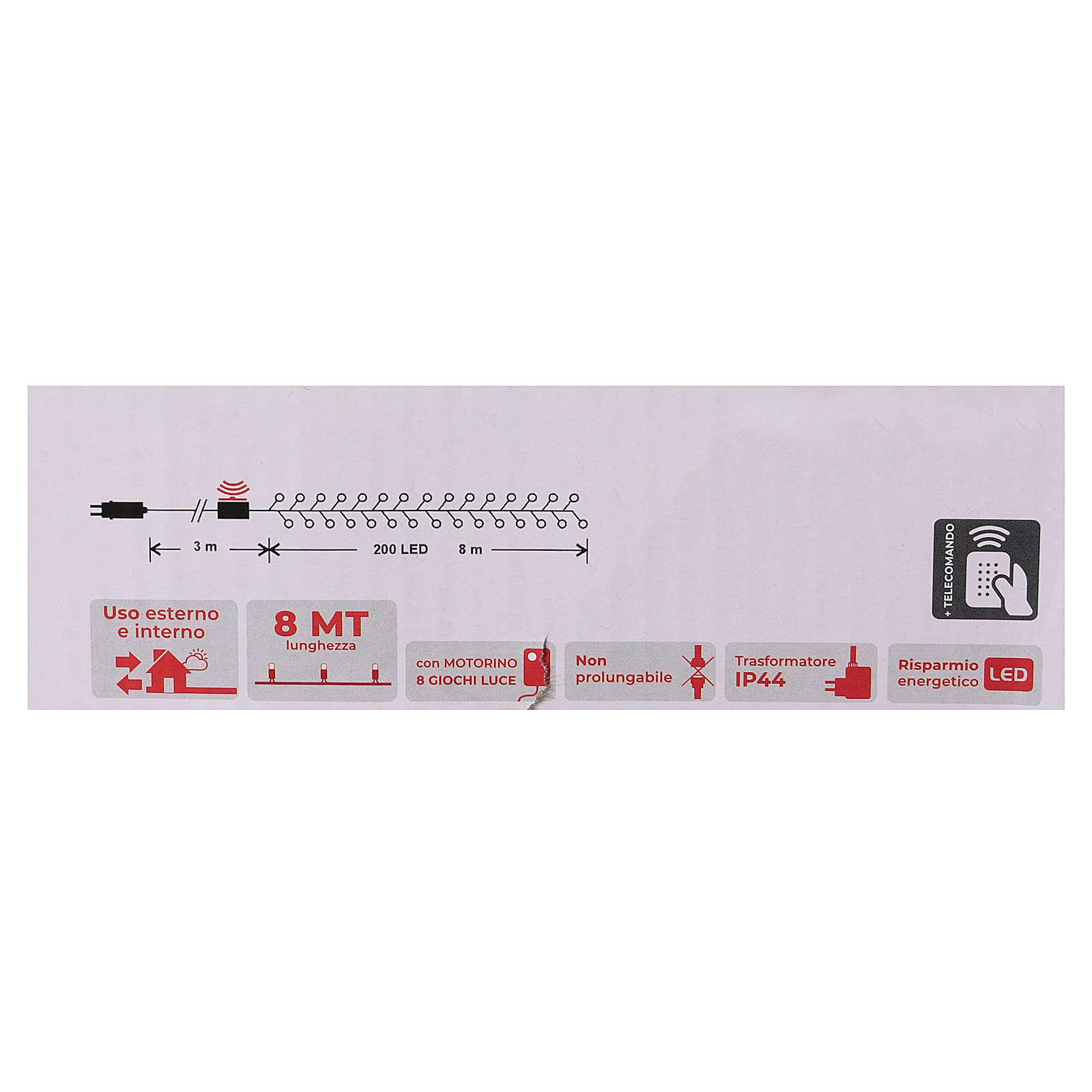 Chaîne 200 LED blanc froid télécommande pour extérieur 220V 3