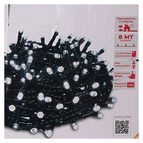 Chaîne 200 LED blanc froid télécommande pour extérieur 220V 5
