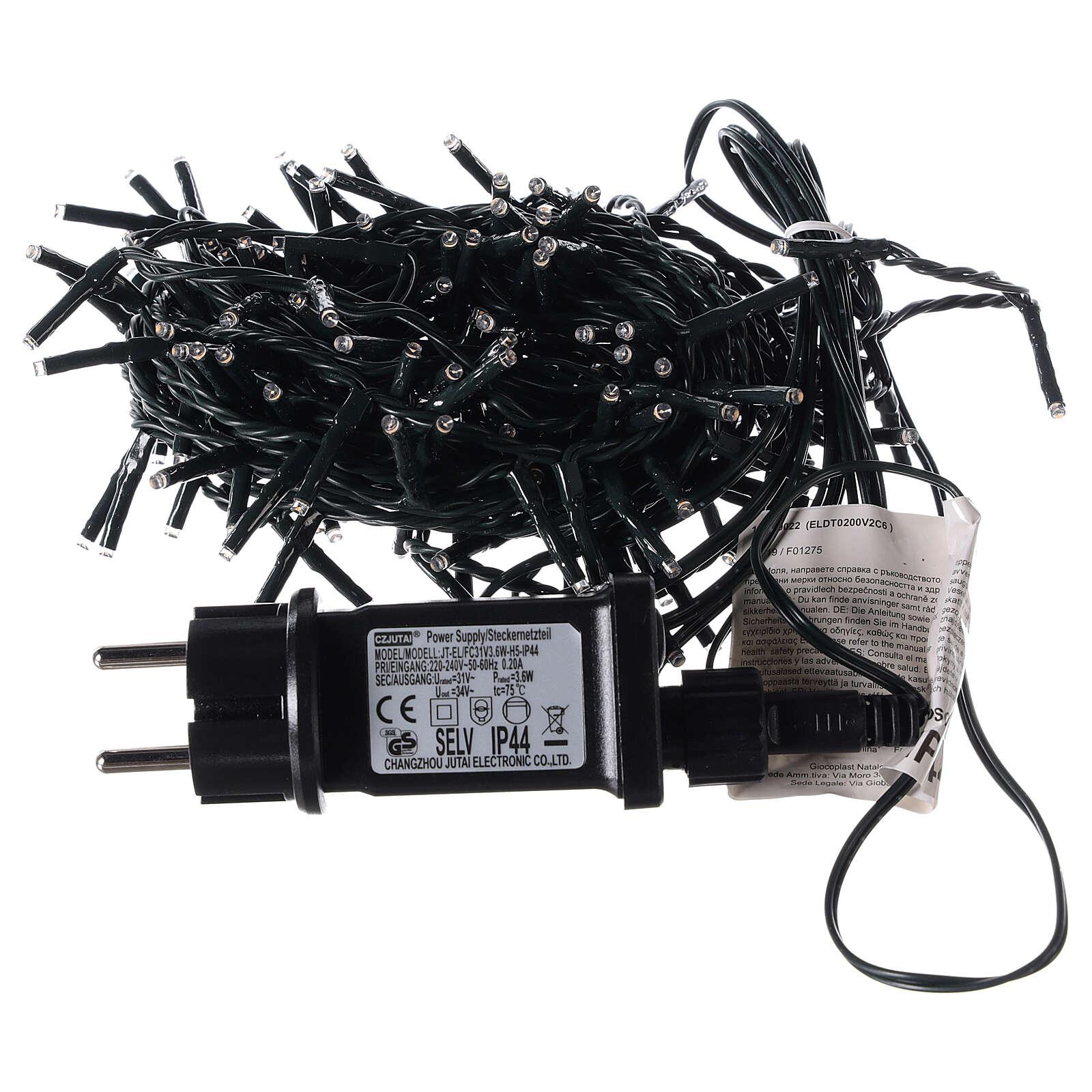 Cadena 200 led blanco cálido con control remoto exterior 220V 3