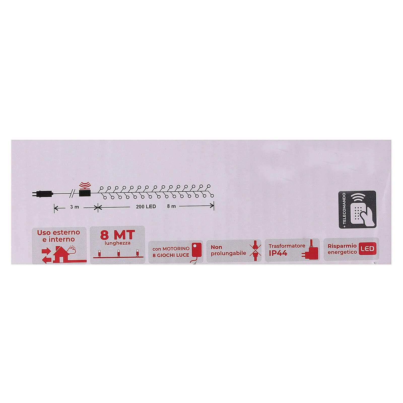 Catena 200 led bianco caldo con telecomando remoto esterno 220V 3