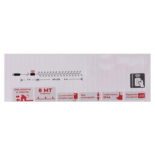 Catena 200 led bianco caldo con telecomando remoto esterno 220V 6