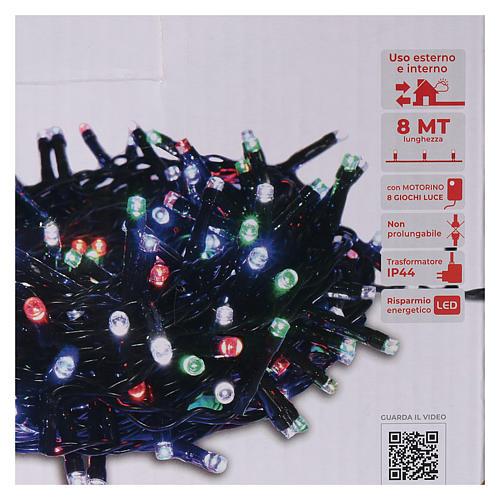 Chaîne 200 LED multicolores télécommande pour extérieur 220V 5