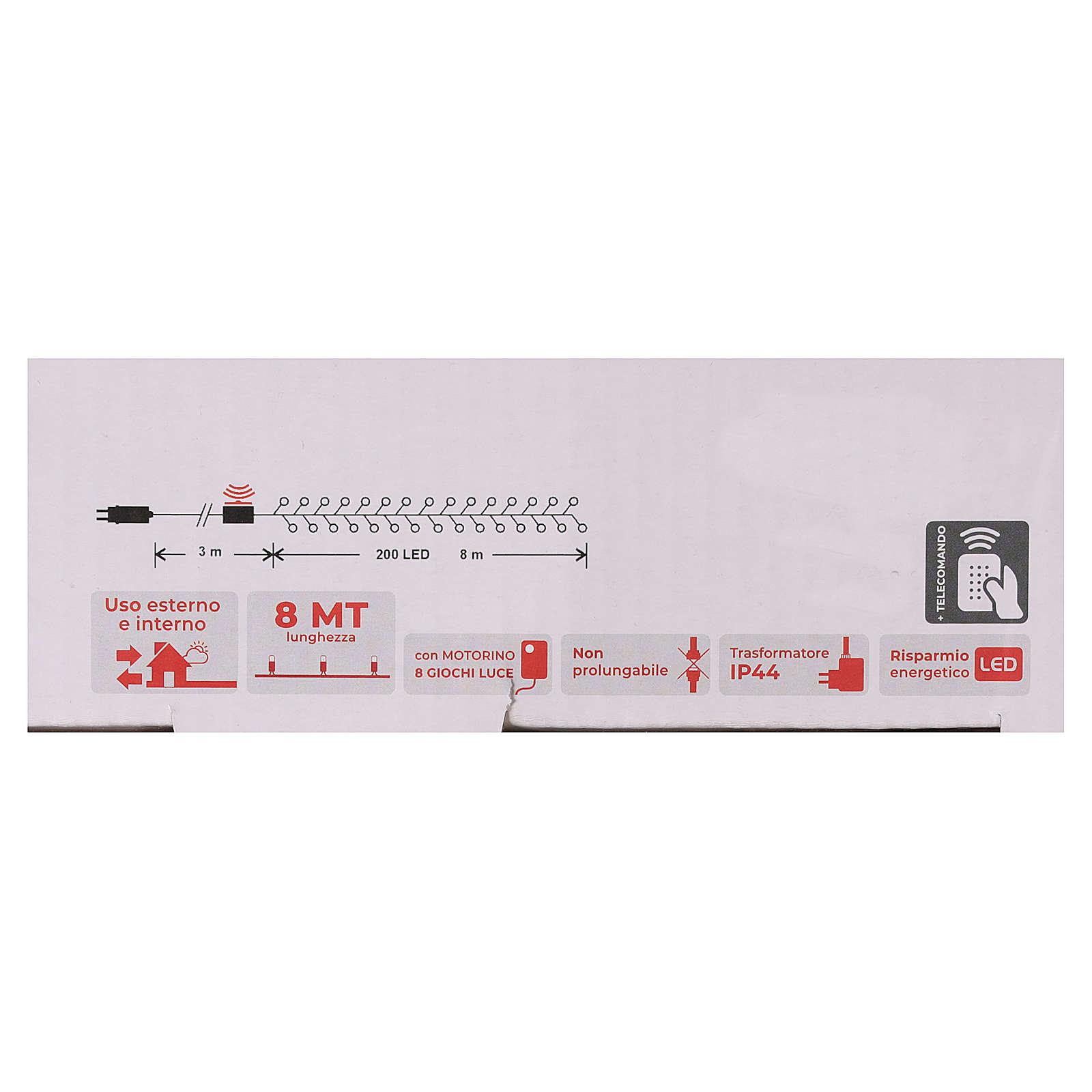 Cadena 200 led blanco cálido ambarino control remoto exterior 220V 3
