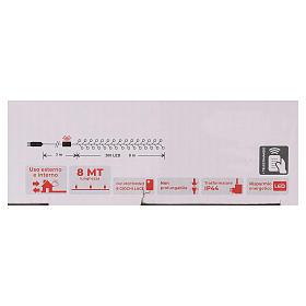 Cadena 200 led blanco cálido ambarino control remoto exterior 220V s6