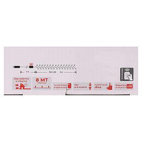 Cadena 200 led blanco cálido ambarino control remoto exterior 220V s5