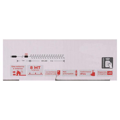 Cadena 200 led blanco cálido ambarino control remoto exterior 220V 6