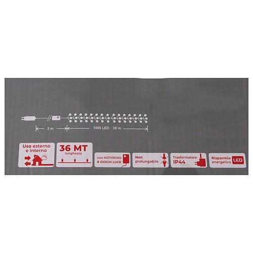 Cadena 200 led blanco cálido ambarino control remoto exterior 220V 14