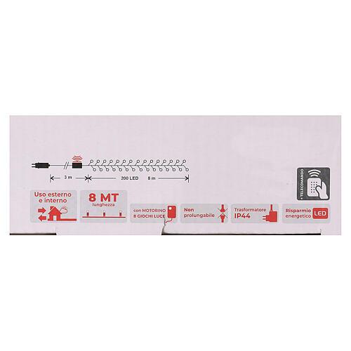 Cadena 200 led blanco cálido ambarino control remoto exterior 220V 5