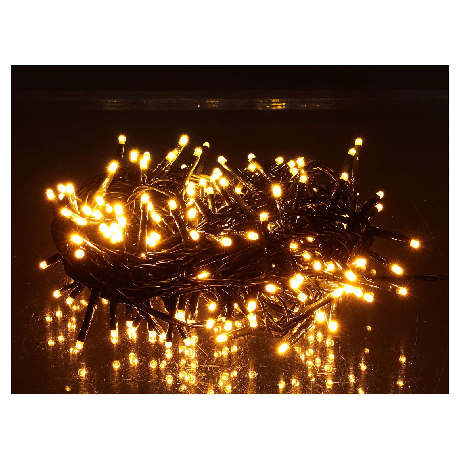 Guirlande lumineuse 200 LED blanc chaud ambré télécommande pour extérieur 220V 3