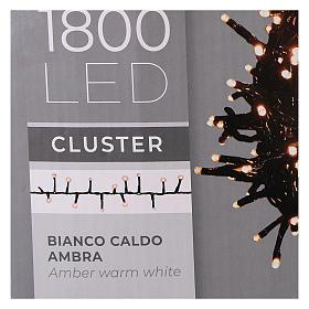 Guirlande lumineuse 200 LED blanc chaud ambré télécommande pour extérieur 220V s11