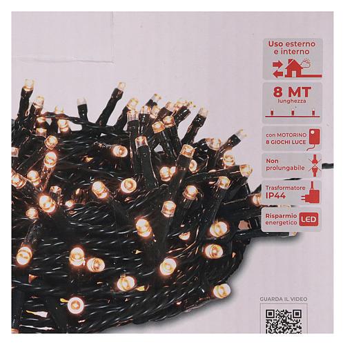 Guirlande lumineuse 200 LED blanc chaud ambré télécommande pour extérieur 220V 5