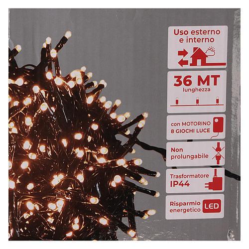 Guirlande lumineuse 200 LED blanc chaud ambré télécommande pour extérieur 220V 10