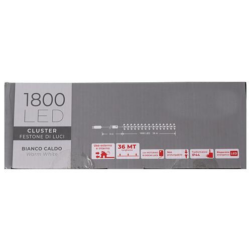 Cadena 1800 led blanco cálido exterior corriente 8