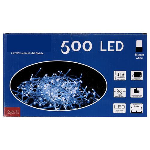 Catena luminosa 500 led bianco freddo cavo trasparente esterno 220V 4