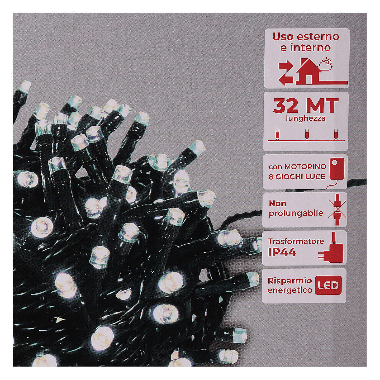Lichterkette mit 800 LEDs kaltweiß, 220V 4