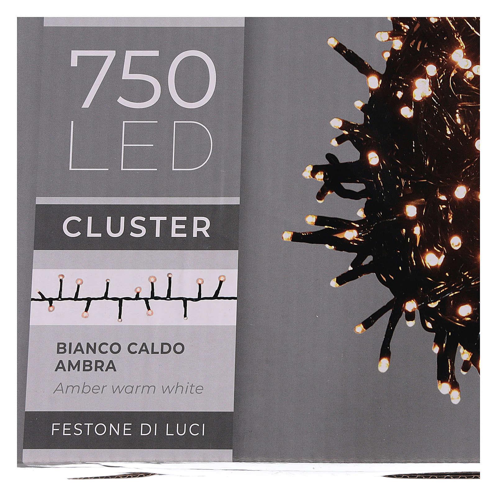 Cadena luminosa 750 led blanco cálido ambarino exterior 220V 3