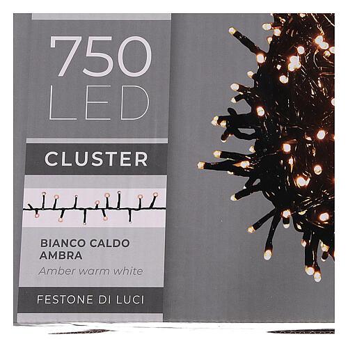 Cadena luminosa 750 led blanco cálido ambarino exterior 220V 5