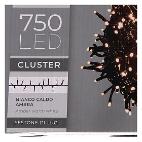 Guirlande 750 LED blanc chaud ambrée extérieur 220V s6