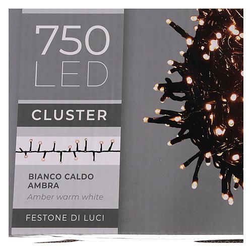 Guirlande 750 LED blanc chaud ambrée extérieur 220V 6