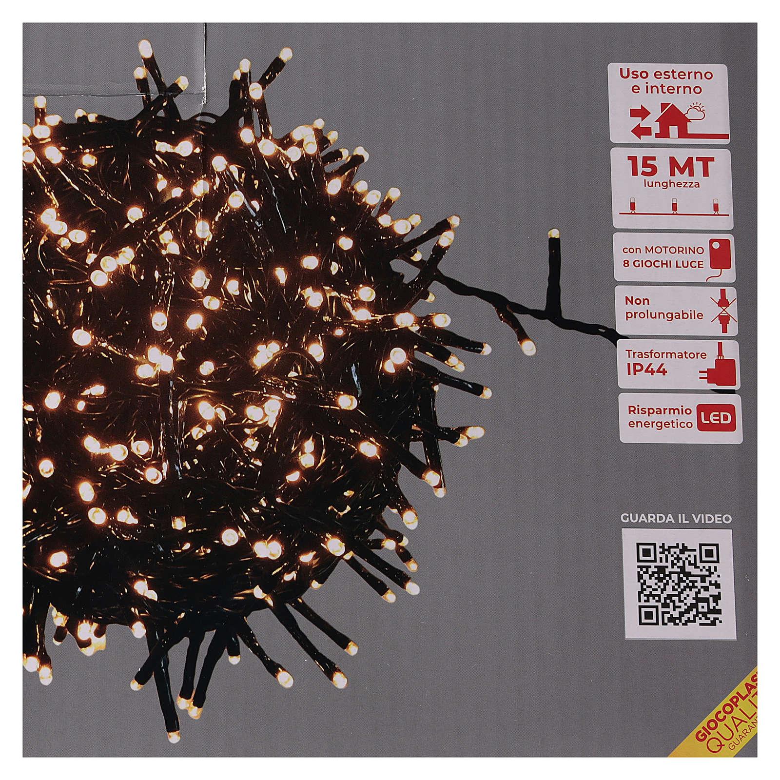 Catena luminosa 750 led bianco caldo ambrato esterno 220V 3