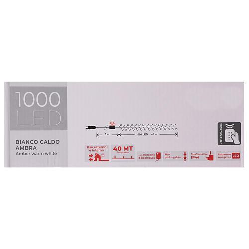 Cadena luminosa 1000 led blanco cálido ambarino exterior 220V 7