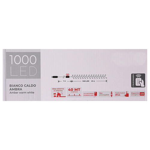 Chain lights 1000 LEDs amber warm white lights external 220V 6