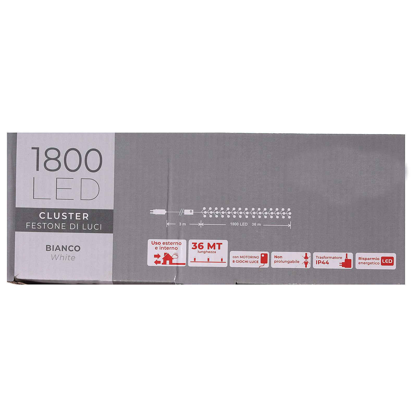 Cadena luminosa 1800 led blanco frío con juegos de luz exterior 220V 3
