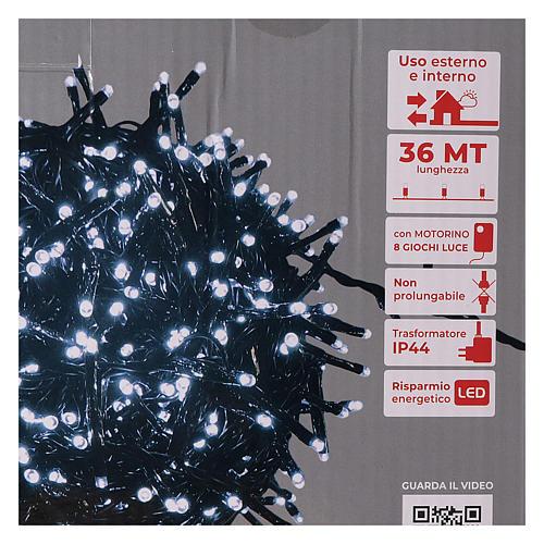 Guirlande 1800 LED blanc froid avec jeux de lumières extérieur 220V 6