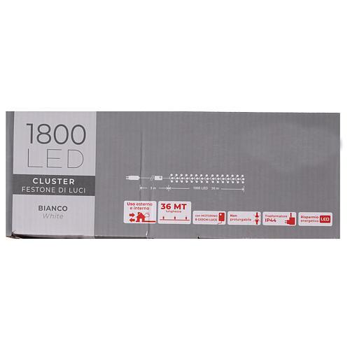 Guirlande 1800 LED blanc froid avec jeux de lumières extérieur 220V 8