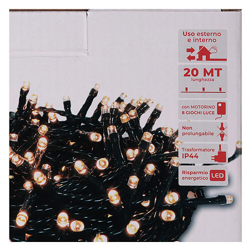 Cadena luminosa 500 led blanco cálido ambarino con juegos de luz programables 5