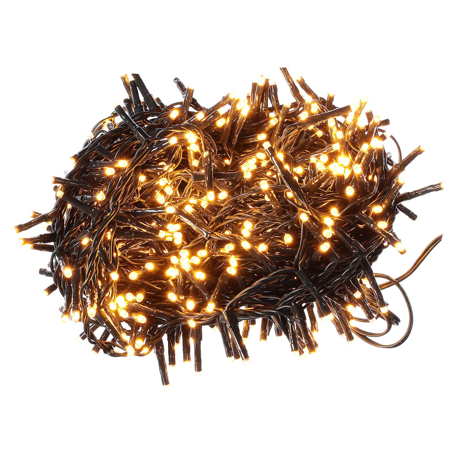Catena luminosa 500 led bianco caldo ambrato giochi luce programmabili esterno 220V 3