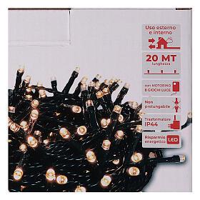 Catena luminosa 500 led bianco caldo ambrato giochi luce programmabili esterno 220V s4