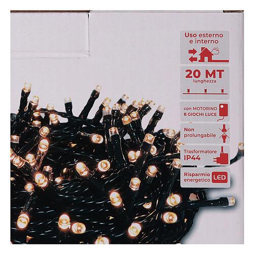 Catena luminosa 500 led bianco caldo ambrato giochi luce programmabili esterno 220V 4