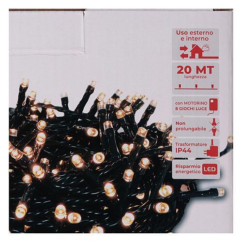 Pisca pisca 500 LED branco quente ambarino com jogos de luzes programáveis 5