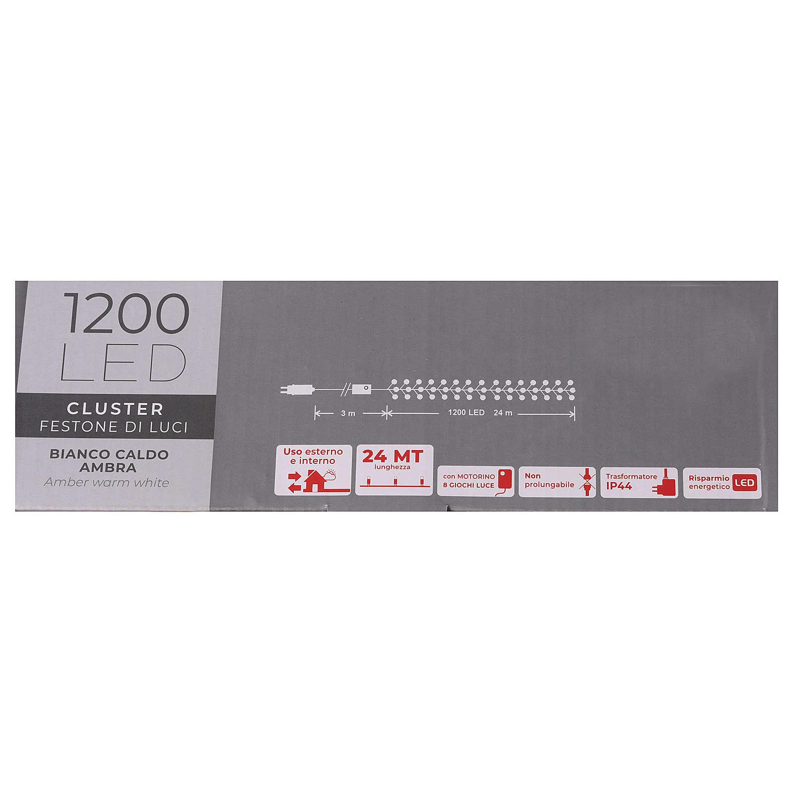 Cadena luminosa 1200 blanco cálido ambarino exterior 220V 3