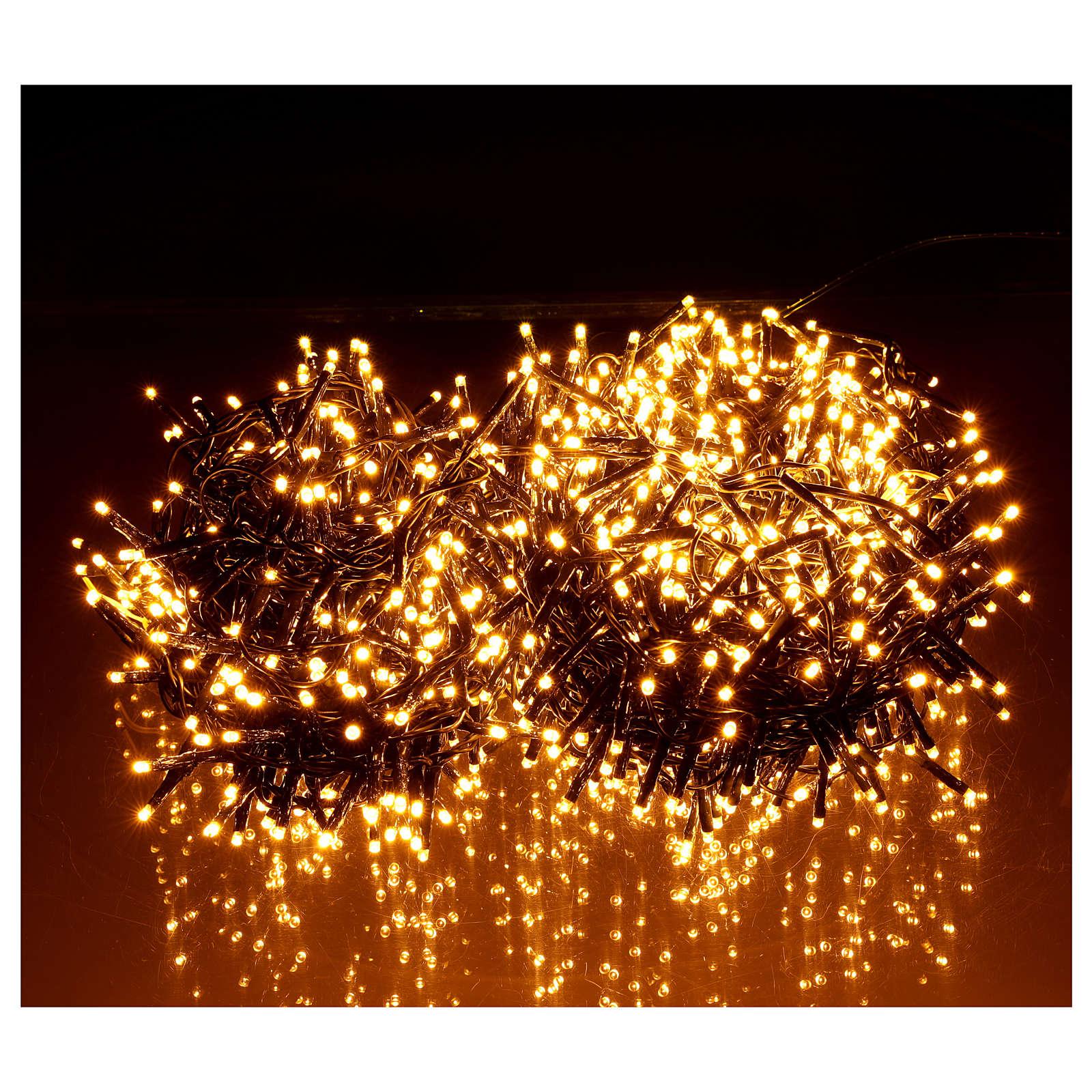 Guirlande de Noël 1200 LED blanc chaud ambré extérieur 220V 3