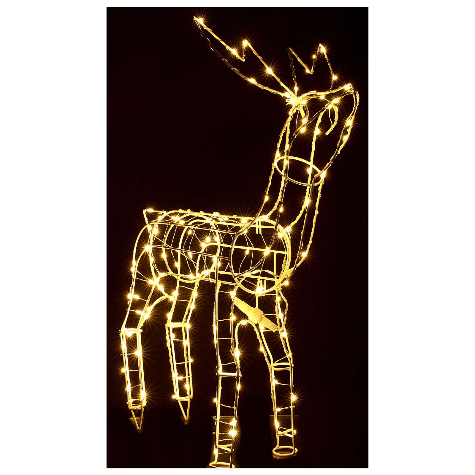 Luz de Natal Rena 62 cm branco quente corrente bateria interior 220V 3