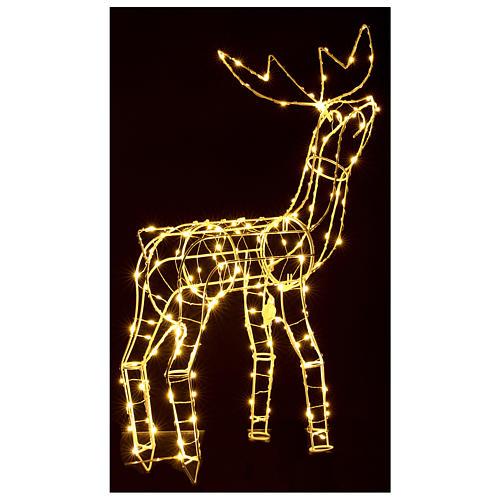 Luz de Natal Rena 62 cm branco quente corrente bateria interior 220V 6