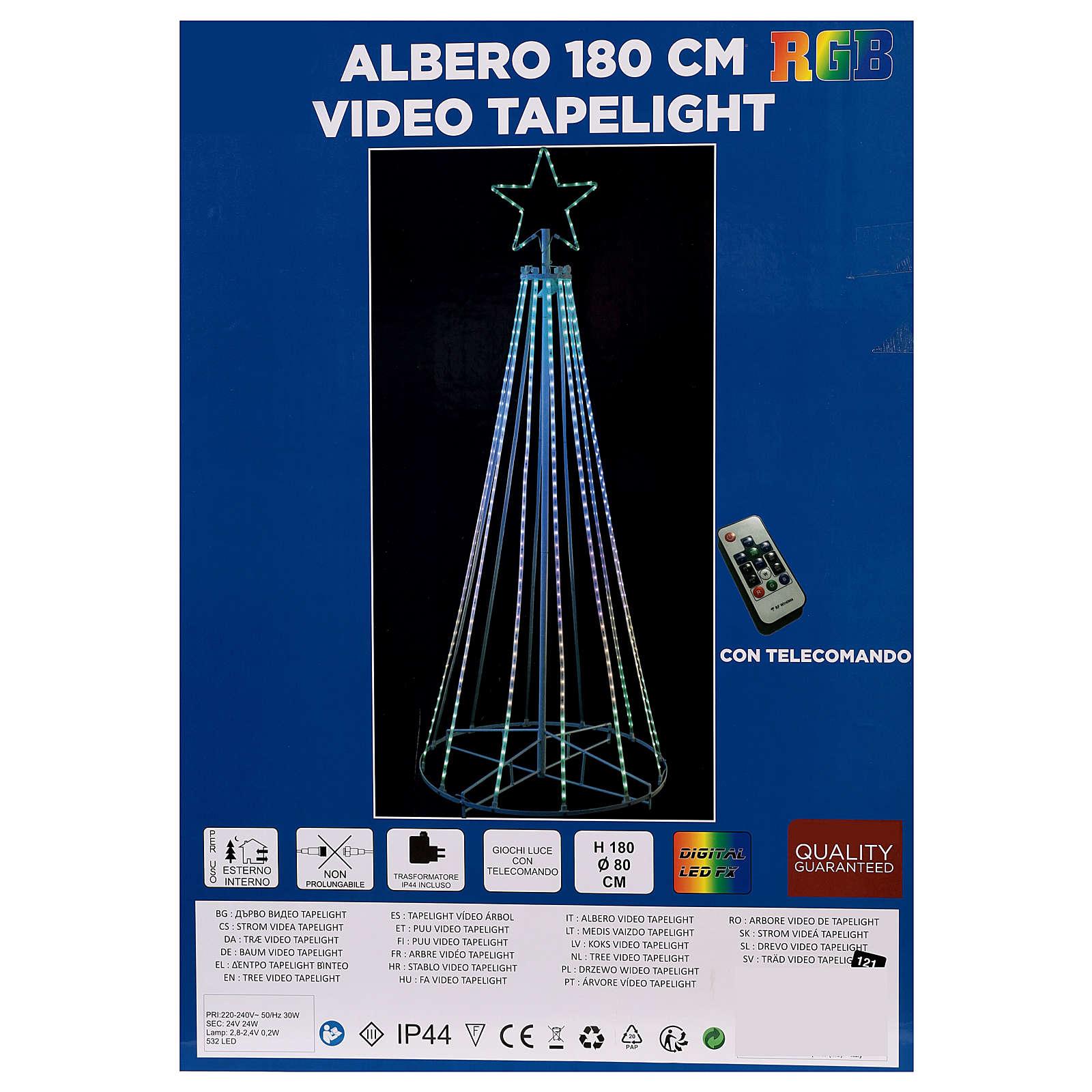 Albero con fili luminosi multicolor 180 cm corrente batteria interno 220V 3