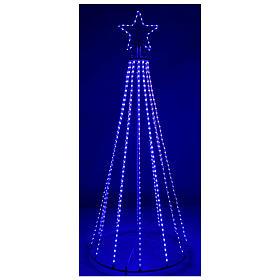 Albero con fili luminosi multicolor 180 cm corrente batteria interno 220V s5