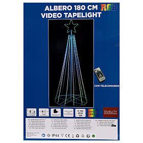 Albero con fili luminosi multicolor 180 cm corrente batteria interno 220V s9