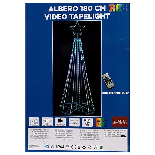 Albero con fili luminosi multicolor 180 cm corrente batteria interno 220V 9