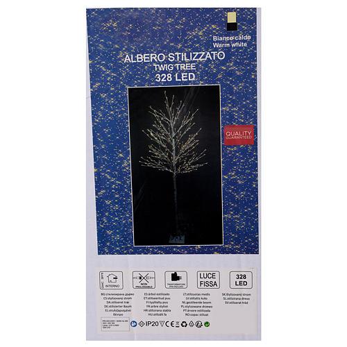 Albero luminoso stilizzato 328 led bianco caldo corrente batteria 6