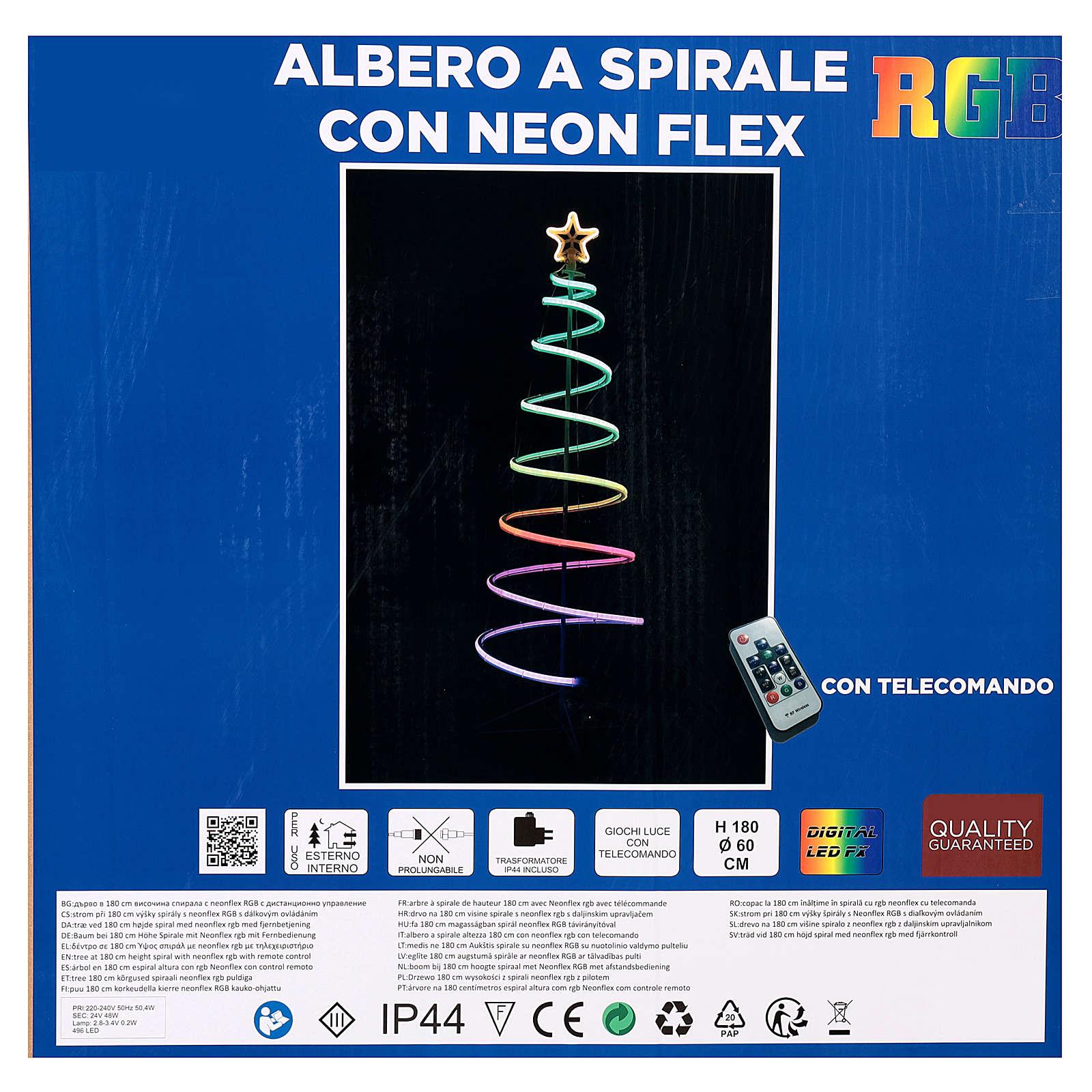 Árbol espiral 496 LED RGB multicolor corriente pilas 3