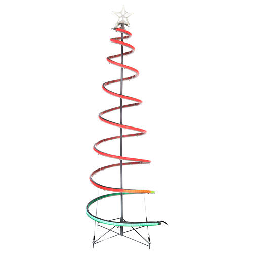 LED spiral Christmas tree, 496 LEDs RGB multi-color electric powered 1